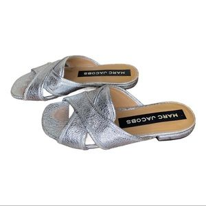 Marc Jacobs Sandals Aurora Flat Leather Silver 6